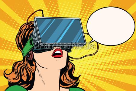 retro girl with glasses virtual reality