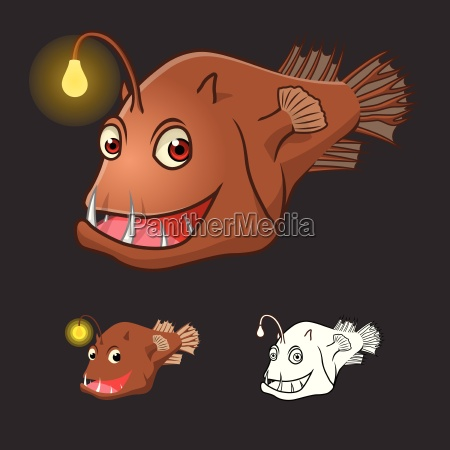 high quality angler fish cartoon character
