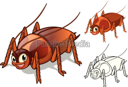 high quality detailed cockroach cartoon character