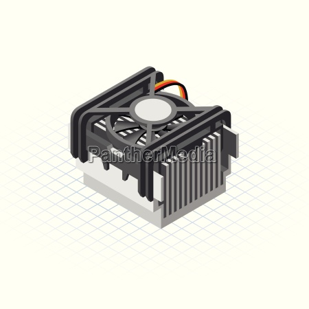 isometric fan processor vector illustration