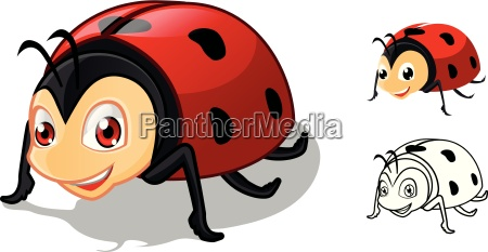 high quality detailed ladybug cartoon character