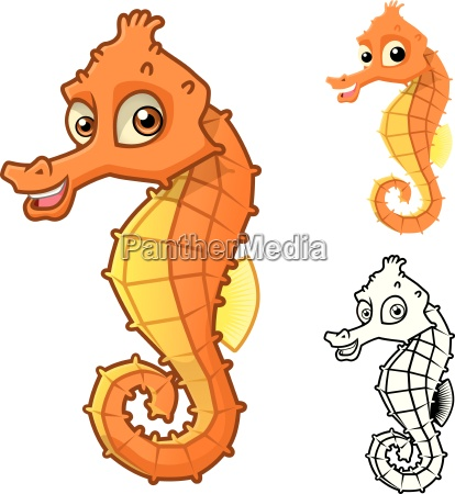 high quality sea horse cartoon character