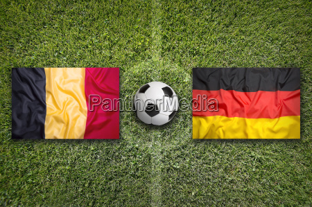 belgium vs germany flags on soccer