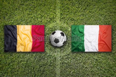 belgium vs italy flags on soccer