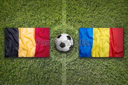 belgium vs romania flags on soccer