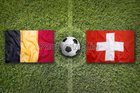 belgium vs switzerland flags on soccer