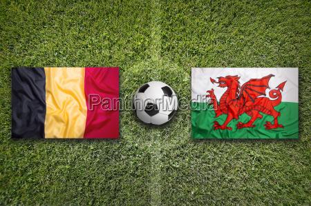 belgium vs wales flags on soccer