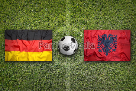 germany vs albania flags on soccer