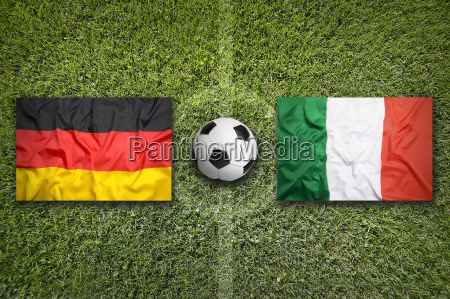 germany vs italy flags on soccer