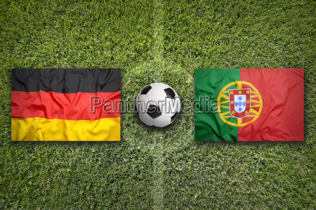 germany vs portugal flags on soccer