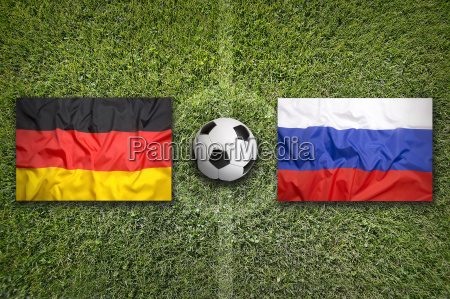 germany vs russia flags on soccer