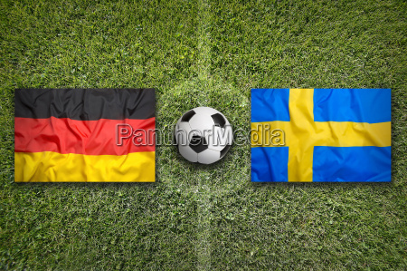 germany vs sweden flags on soccer