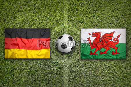 germany vs wales flags on soccer