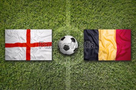 england vs belgium flags on soccer