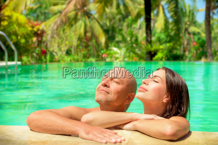 romantic couple in a pool