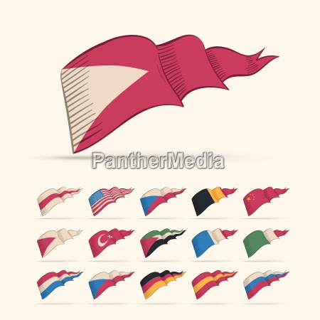 various vector national triangle flag set