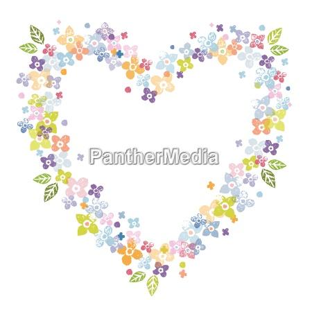 valentines floral heart shape frame
