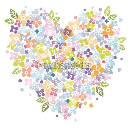 valentines floral heart shape illustration
