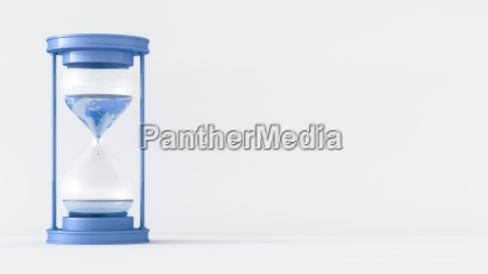 3d rendering sand clock with world
