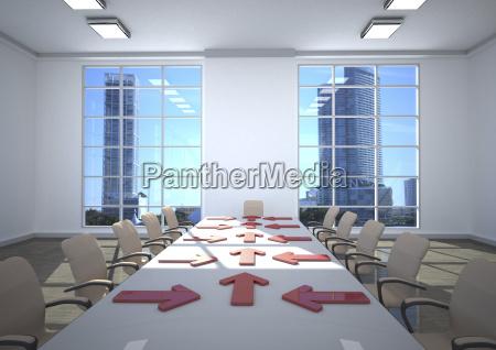 3d illustration business room arrows on