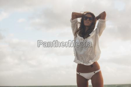 pretty young woman in beach wear