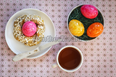 easter breakfast with coloured eggs