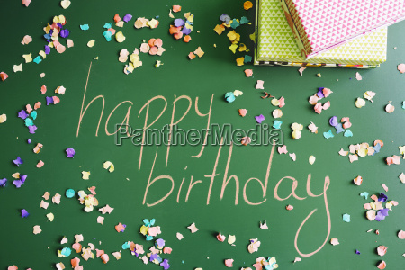 happy birthday message with presents and