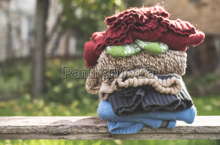 stack of warm clothing