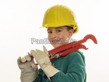 portrait of boy with hard hat
