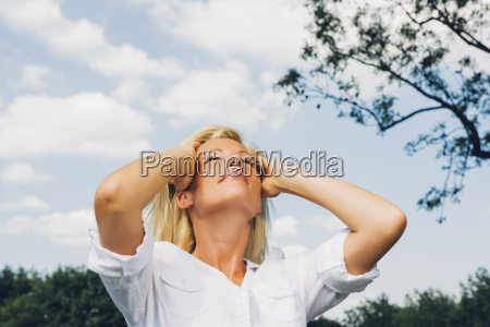 portrait of relaxed mature woman at