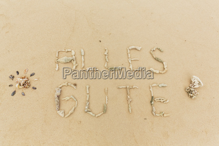 corals on sand text all the