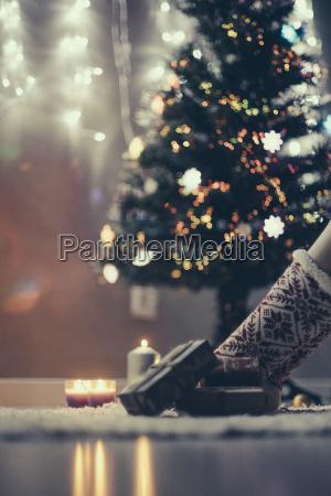 christmas presents lying on the carpet