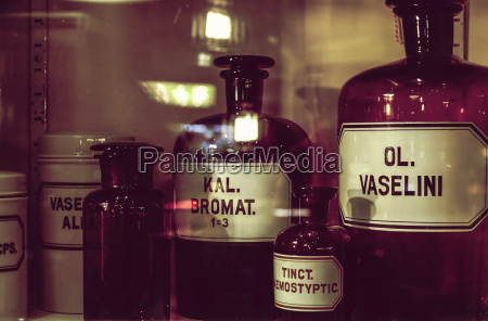 old apothecary bottles in an apothecary