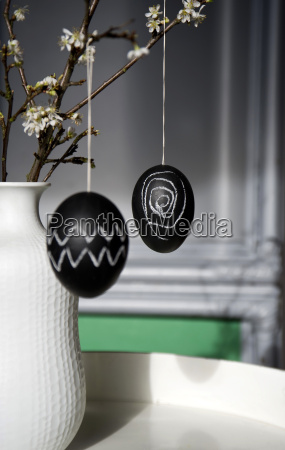 two easter eggs painted with blackboard