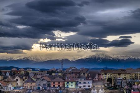 rumania transylvania view over sibiu to