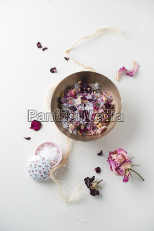 bowl of bath salts and dried