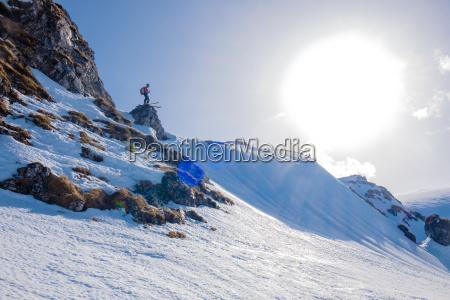 romania southern carpathians skier in winter