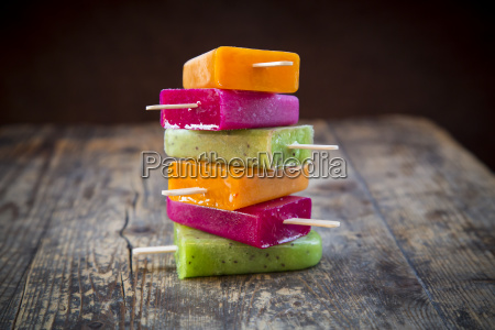 stack of fruit smoothie ice lollies