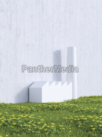 3d rendering industrial hall on a