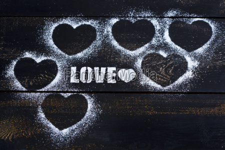 hearts and the word love stenciled