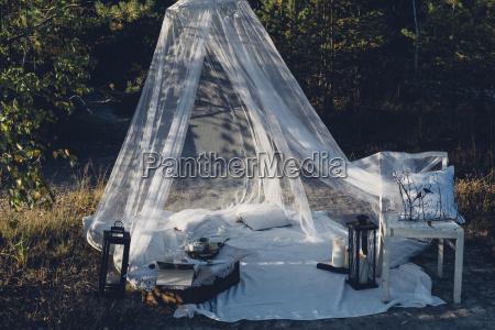 romantic camp in autumnal nature