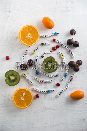 fruits orange kiwi grapes currant and