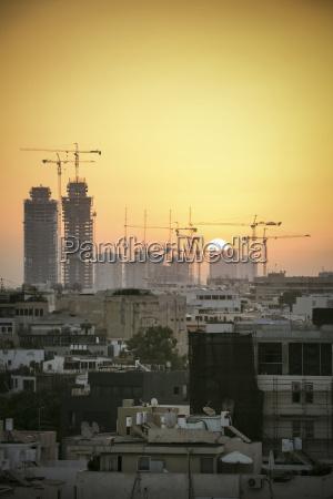 israel tel aviv cityscape with cranes