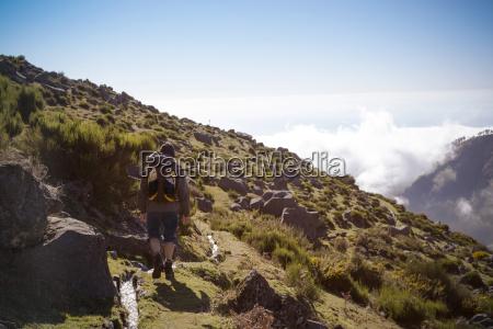 portugal madeira man on hiking trip