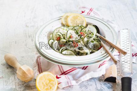 cucumber tagliatelle salad with spicy lemon