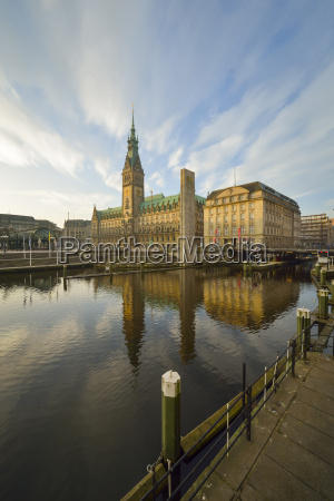germany hamburg city hall and little