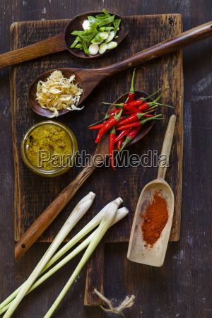 ingredients of asian curry paste on