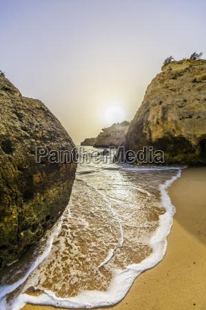 portugal algarve coast near porches in