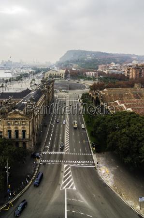 spain barcelona cityscape with street
