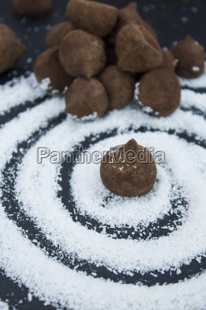 chocolate truffle on a swirl of